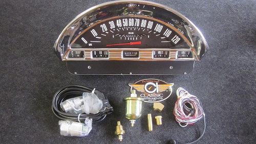 complete replacement to the original gauges, the electronic cluster  features speedometer, tachometer, fuel, water temp, oil pressure, and volt  gauges